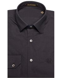 Roberto Cavalli - Men's Point Collar Cotton Dress Shirt Black - Lyst