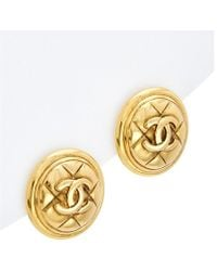 Chanel - Coco Mark Matelasse Vintage Circle Earrings Gold - Lyst