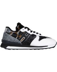 Hogan Rebel - Women's White/black Leather Sneakers - Lyst