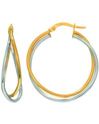 Jewelry Affairs - 14k Yellow And White Gold Cris Cross Double Row Two Tone Hoop Earrings, Diameter 30mm - Lyst