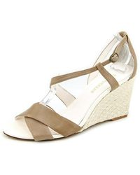Enzo Angiolini - Vanida Open Toe Leather Wedge Heel - Lyst