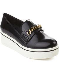 Stella McCartney - Women's Leather Platform Loafer Shoes Black - Lyst