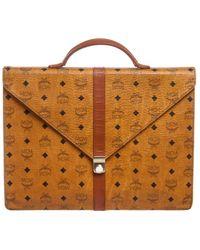 MCM - Pre Owned- Brown Visetos Coated Canvas Vintage Briefcase - Lyst