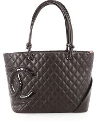 6b66797bc9a9 Lyst - Chanel Pre Owned Cambon Tote Quilted Leather Large in Black