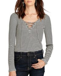 Denim & Supply Ralph Lauren - Striped V-neck Lace-up Shirt - Lyst