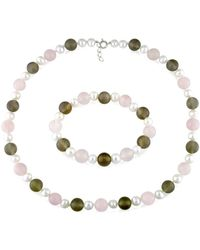 Catherine Malandrino - Freshwater Cultured Pearl, And Gems Strand Stretch Bracelet 2-piece Set - Lyst