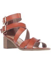 Material Girl - Mg35 Danee Block Heel Strappy Sandals, Cognac - Lyst