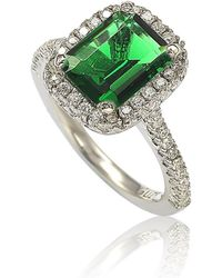 Suzy Levian - Sterling Silver Emerald-cut Green Cubic Zirconia Halo Ring - Lyst