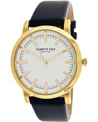 Kenneth Cole - Men's 10030810 Black Leather Analog Quartz Dress Watch - Lyst