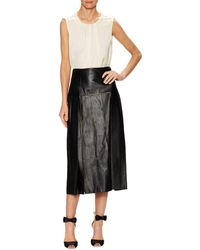 Carolina Herrera - Leather Laser-cut Panel Midi Skirt - Lyst