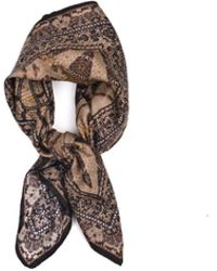 Roberto Cavalli - Brown Silk Abstract Snake Print Scarf - Lyst