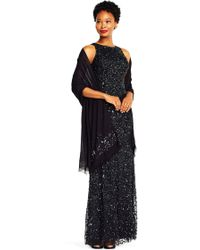 Adrianna Papell - Semi-sheer Pashmina Shawl With Beaded Accents - Lyst