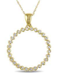 Catherine Malandrino - Diamond Circle Pendant With Chain - Lyst