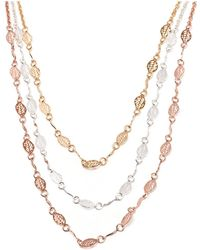 Peermont - Gold & Rose Gold Leaf Triple Strand Necklace - Lyst