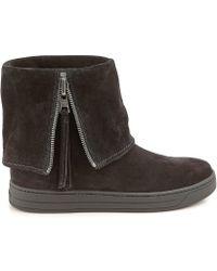 0add5ff92ed0 Lyst - Prada Suede Pointy-toe Round Heel Ankle Bootie in Black