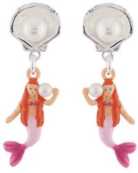 Les Nereides - I Am A Mermaid And Silver Shell Clip Earrings - Lyst
