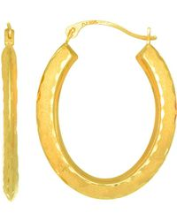 Jewelry Affairs - 10k Yellow Gold Diamond Cut Satin Finish Oval Hoop Earrings, Diameter 23mm - Lyst