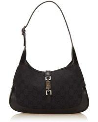 Gucci - Pre Owned - Black Canvas Leather Gg Logo Jackie Shoulder Bag - Lyst
