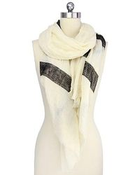 Saachi - Black Sequin Stripe Scarf - Lyst