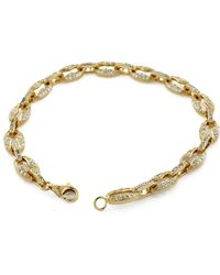 "Suzy Levian - Pave Cubic Zirconia Golden Sterling Silver Gucci Link 7"""""""" Bracelet - Lyst"