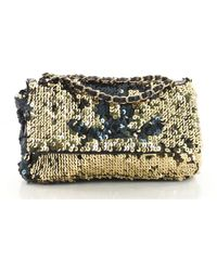 Chanel - Pre Owned Summer Night Flap Bag Sequins With Leather Medium - Lyst