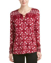 NYDJ - Batik Print Long Sleeve Top - Lyst