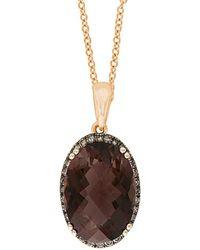 Effy - Fine Jewelry 14k Rose Gold 5.54 Ct. Tw. Diamond & Smoky Quartz Necklace - Lyst