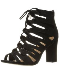 3cc1f45a3db Madden Girl - Womens Banerrr Fabric Peep Toe Special Occasion Strappy  Sandals - Lyst