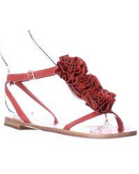 Kate Spade - Kate Spade Caryl Rose Flower T-strap Flat Sandals - Maraschino Red - Lyst