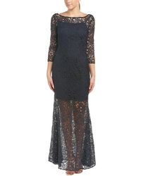 Kay Unger - Three-quarter Sleeve Lace Sheer Gown - Lyst