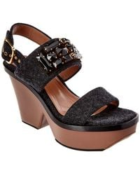 Marni - Patent-leather Wedge Sandals - Lyst