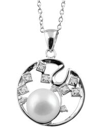 Splendid - Round Silver Pearl & Cz Pendant - Lyst
