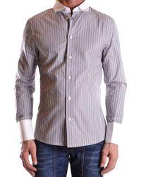 Dirk Bikkembergs - Men's Mcbi097004o Grey Cotton Shirt - Lyst