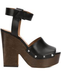 Givenchy - Women's Black Leather Sandals - Lyst