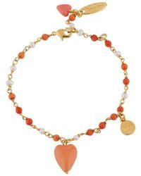 Les Nereides - Love Me Coral Heart And Love Charm Beaded Bracelet - Lyst