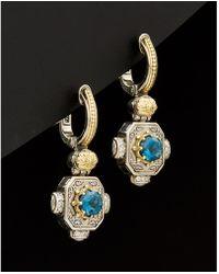 Konstantino - Hermione 18k & Silver 1.08 Ct. Tw. Diamond & London Blue Topaz - Lyst