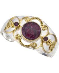 Jewelista - Silver & Gold Vermeil Eudialyte Cuff - Lyst