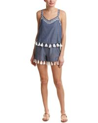 Shoshanna - Chambray Geo Embroidery Tank Jumpsuit Cover Up - Lyst