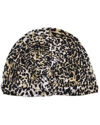 Roberto Cavalli - Women's Ivory Ruched Leopard-print Jersey Turban - Lyst