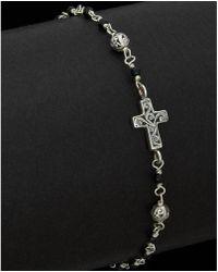Lois Hill - Silver Black Onyx Cross Id Bracelet - Lyst
