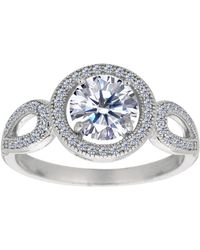 Jewelry Affairs - Sterling Silver With Round Center And Cubic Zirconia Engagement Ring - Lyst