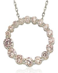 Suzy Levian - Sterling Silver Pink Cubic Zirconia Circle Journey Necklace - Lyst