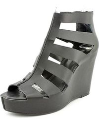 00d8e0b287a Lyst - Bcbgeneration Albaz Open Toe Suede Wedge Heel in Gray