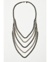 Ben-Amun - 1 Brass & Antique Silver Plating Chain Link Multi Strand Necklace - Lyst