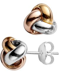 Jewelry Affairs - 14k Tricolor Yellow White And Rose Gold Shiny Love Knot Stud Earrings, 9mm - Lyst
