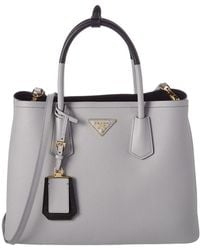 Prada - Saffiano Cuir Leather Double Handle Tote - Lyst