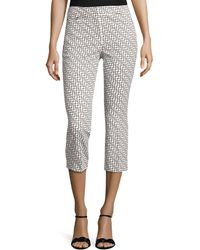 Adrianna Papell - Fitted Capri Trousers With Print Detail - Lyst
