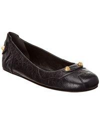 Balenciaga - Studded Leather Ballet Flat - Lyst