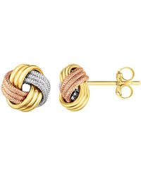 Jewelry Affairs - 14k Tricolor Shiny And Textured Finish Love Knot Earrings - Lyst
