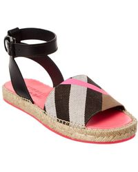 Burberry - Abbins House Check Ankle Strap Espadrille Sandal - Lyst
